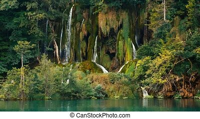 croatie, location:, parc national, lacs, plitvice, chute eau, jezera., europe., plitvicka