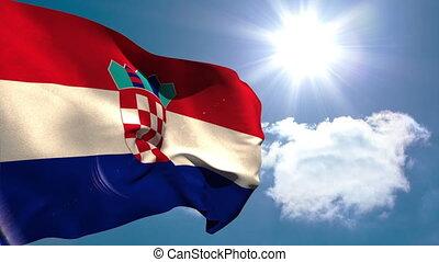 croatie, national, drapeau ondulant