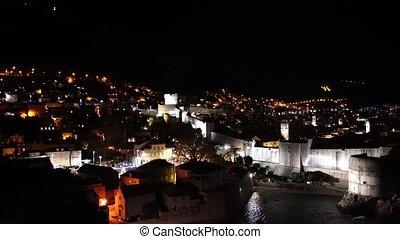 croatie, vieux, murs, nuit, dubrovnik, éclairage, cities., night., ville