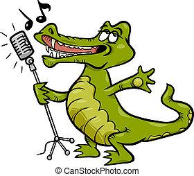 crocodile, chant, dessin animé, illustration