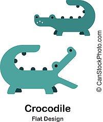 crocodile, plat, icône