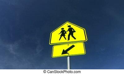 croisement, école, signe, défaillance, temps