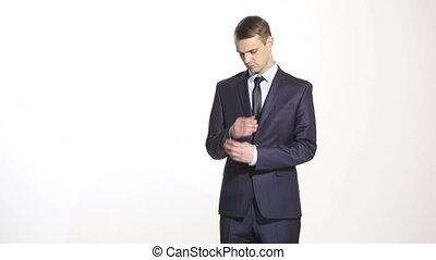 croisement, business, corps, bras, complet, geste, isolé, hands., homme, ventes, gestes, blanc, agents., arrière-plan., managers., formation, déguisé, language.