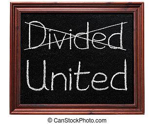 croisement, divisé, dehors, united., écriture