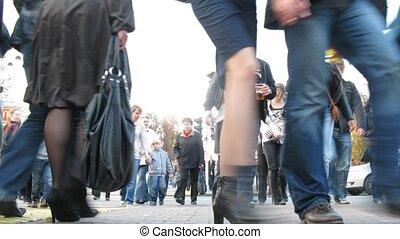 croisement, gens, sokolniki, foule, va, après-midi, piéton