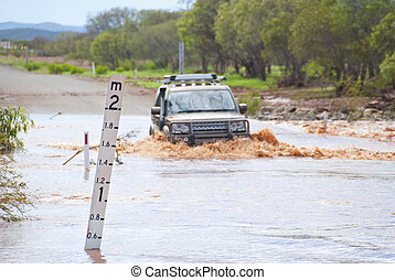 croisement, inondé, 4wd, route