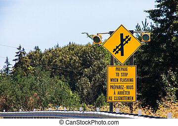 croisement, panneau avertissement, route, ferroviaire, devant