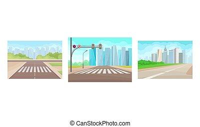 croisement, piéton, ensemble, marquer, trafic route, ligne, vue, urbain, vecteur