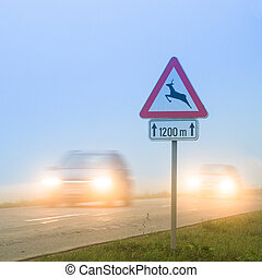 croisement, roadsign, cerf