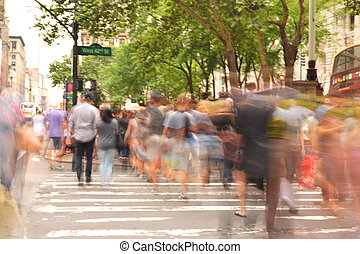 croisement, rue occupée, gens