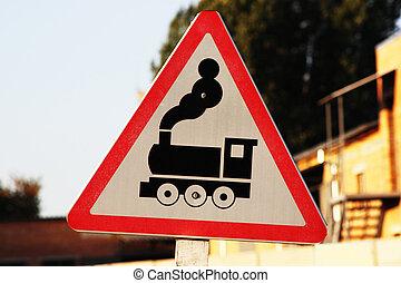 croisement, train, panneau de signalisation