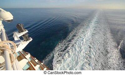croiseur, trace, pont, sommet, mer, bateau, vue