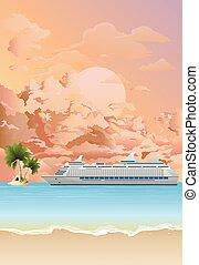 croisière, ancré, bateau, aube