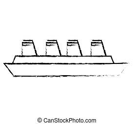 croisière bateau, croquis, maritime, voyage