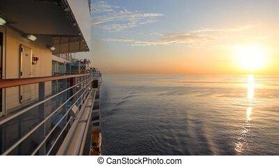croisière, en mouvement, mer, bateau, levers de soleil, vue