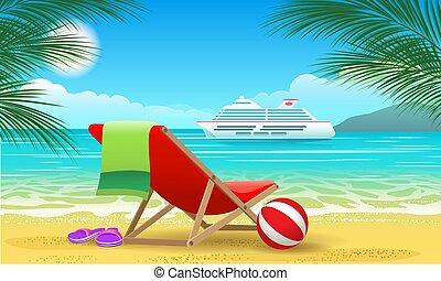 croisière, vaisseau, plage