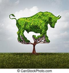 croissance, marché, taureau