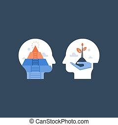 croissance, mindfulness, santé mentale, méditation, potentiel, confiance, estime, concept, positif, soi, mindset, développement