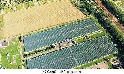 croissant, agricole, 4k, légumes, industriel, aérien, serres, fleurs, fruits., bâtiments., vue