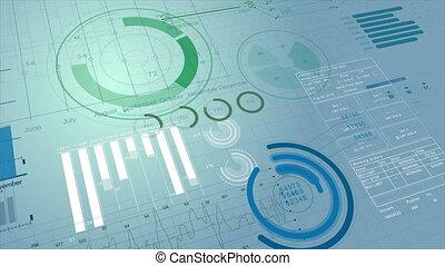 croissant, diagrammes, uhd, concept, business, bourse, figures, arrière-plan., 3d, animation., display., 4k, financier, 3840x2160., diagrammes, beau, technologie, presentations., information numérique, utile