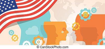 croissant, différent, concept, têtes, usa, pensée, pays, avenir, innovation, etats, cerveau, drapeau, uni, vue, storming, sous, représenté, amérique, discuter, engrenages