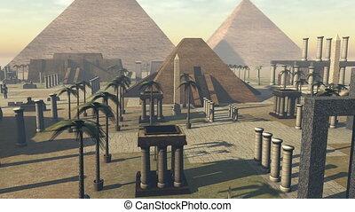 croissant, egypt., animé, ancien, 4k, archéologie