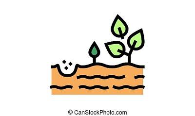 croissant, icône, animation, couleur, arbre