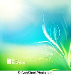croissant, lumière soleil, plant