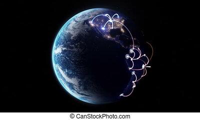 croissant, mondiale, réseau, travers