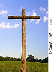 croix, accidenté, paysage, vieux