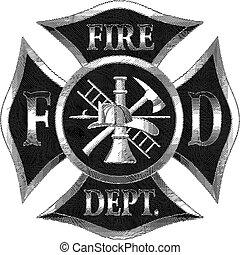 croix, engaving, argent, département, brûler