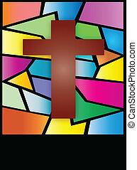 croix, fenêtre, vitraux