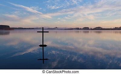 croix, lac reflet