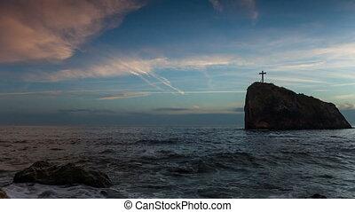 croix, mer, rocher
