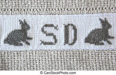 croix-point, blanket., lapin, paques, coton