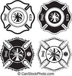 croix, pompier, symboles