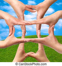 croix, symbole, monde médical, mains