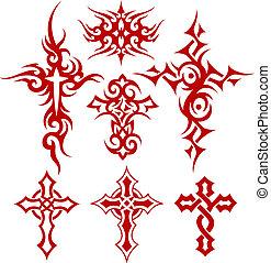 croix, symbole, tribal, rouleau