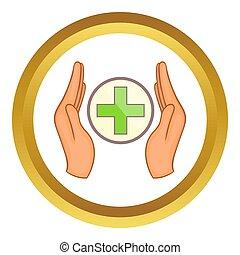 croix, tenue, icône, mains