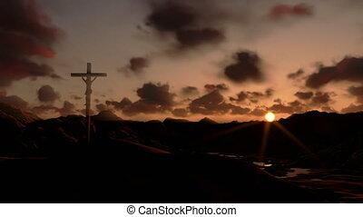croix, timelapse, coucher soleil, jésus