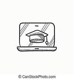 croquis, écran, casquette, remise de diplomes, icon., ordinateur portable