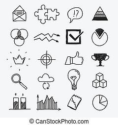 croquis, éléments, business, griffonnage, main, infographic, dessiné