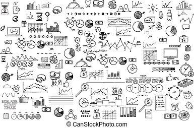 croquis, éléments, finance, business, griffonnage, ecomomic, collection, main, infographics, dessiné