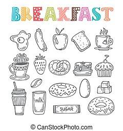croquis, éléments, nourriture, set., collection, main, divers, dessiné, doodles, petit déjeuner