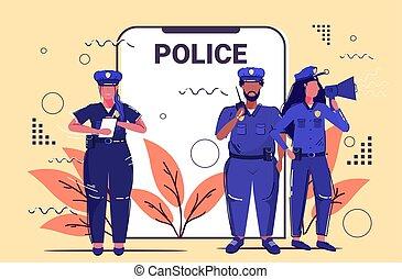 croquis, équipe, horizontal, droit & loi, entiers, mélange, application, ensemble, debout, concept, sécurité, ligne, officiers, police, mobile, service, smartphone, longueur, autorité, course, écran, justice