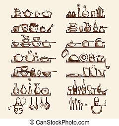 croquis, étagères, ton, ustensiles, conception, dessin, cuisine