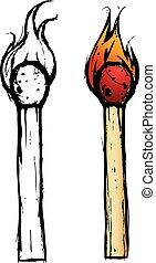 croquis, allumette, -, bâtons, illustration