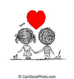 croquis, amour, couple, valentin, conception, ensemble, ton
