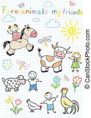 croquis, animaux, ferme, enfants, vecteur, heureux