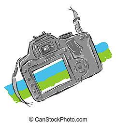 croquis, appareil photo, conception, ton
